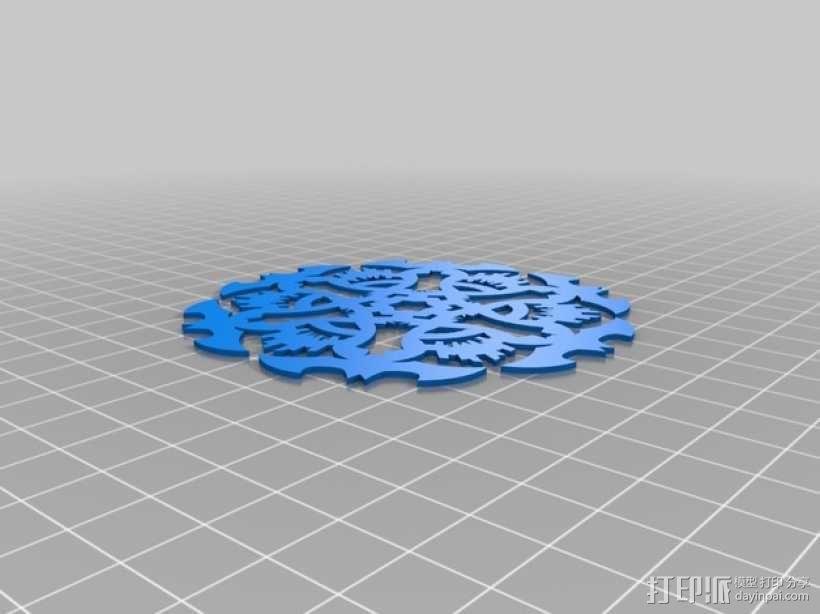 蝙蝠形雪花装饰品 3D模型  图3