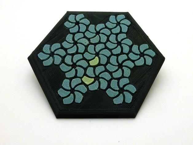 花形六边形杯托 3D模型  图2