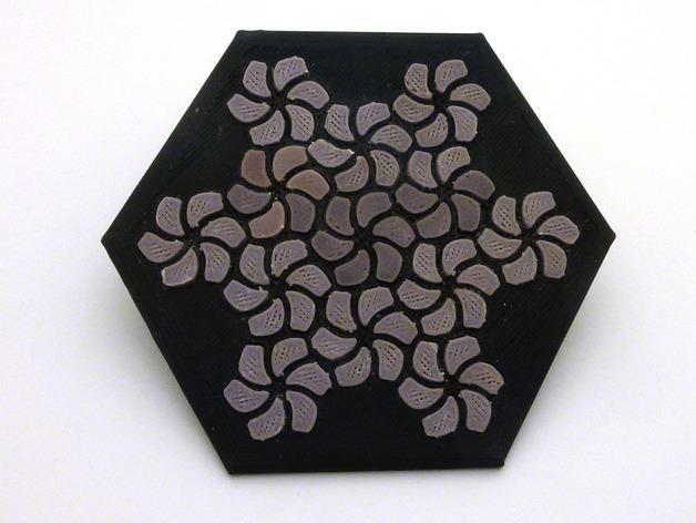 花形六边形杯托 3D模型  图4