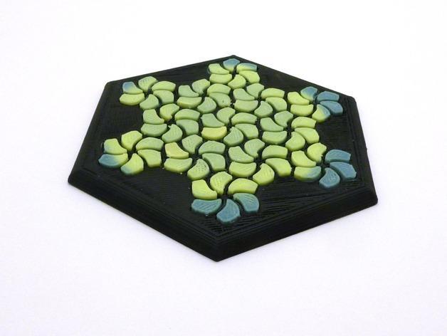 花形六边形杯托 3D模型  图1