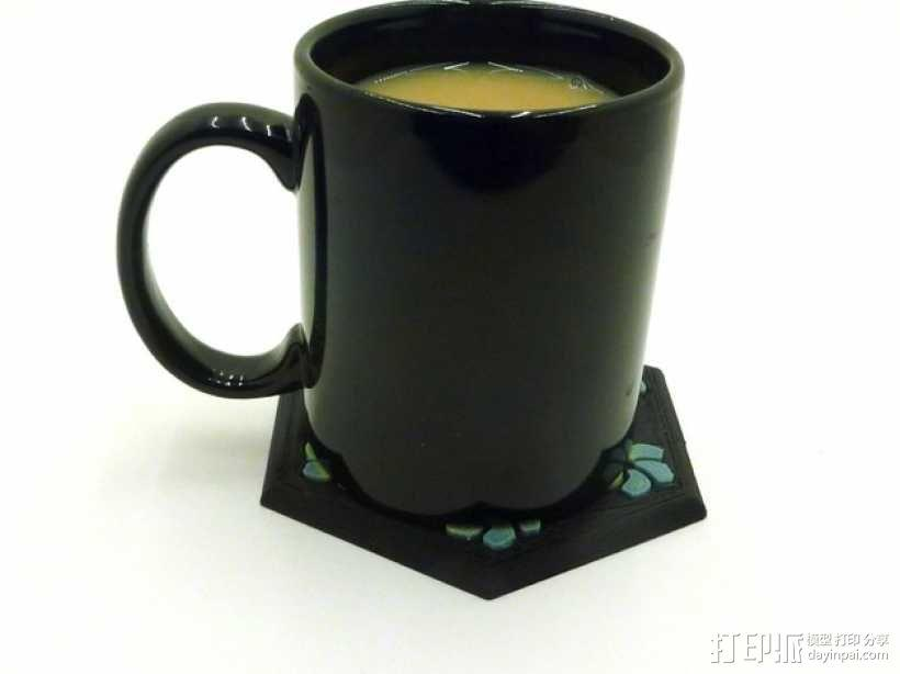 花形六边形杯托 3D模型  图3