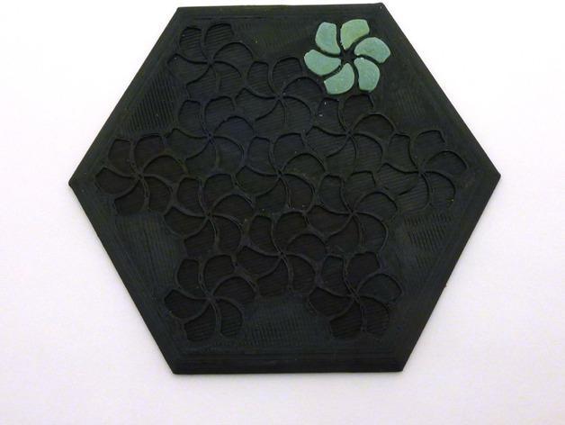 花形六边形杯托 3D模型  图12