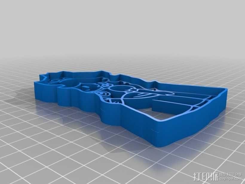 碧奇公主饼干模具切割刀 3D模型  图1
