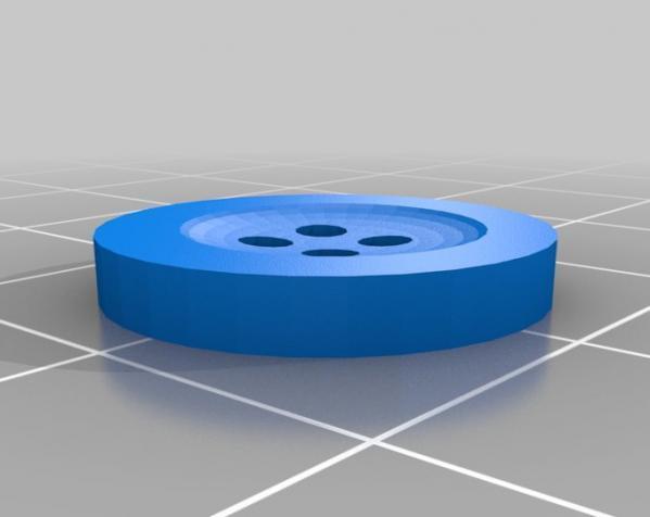 经典4孔纽扣 3D模型  图1