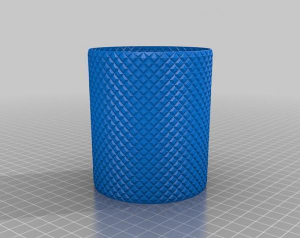 滚花圆形笔筒 3D模型  图2