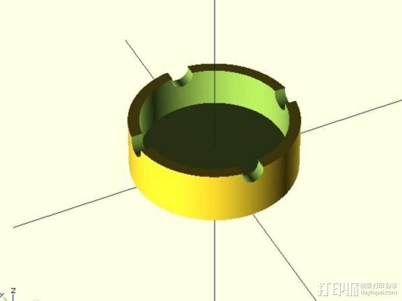 参数化圆形烟灰缸 3D模型  图2