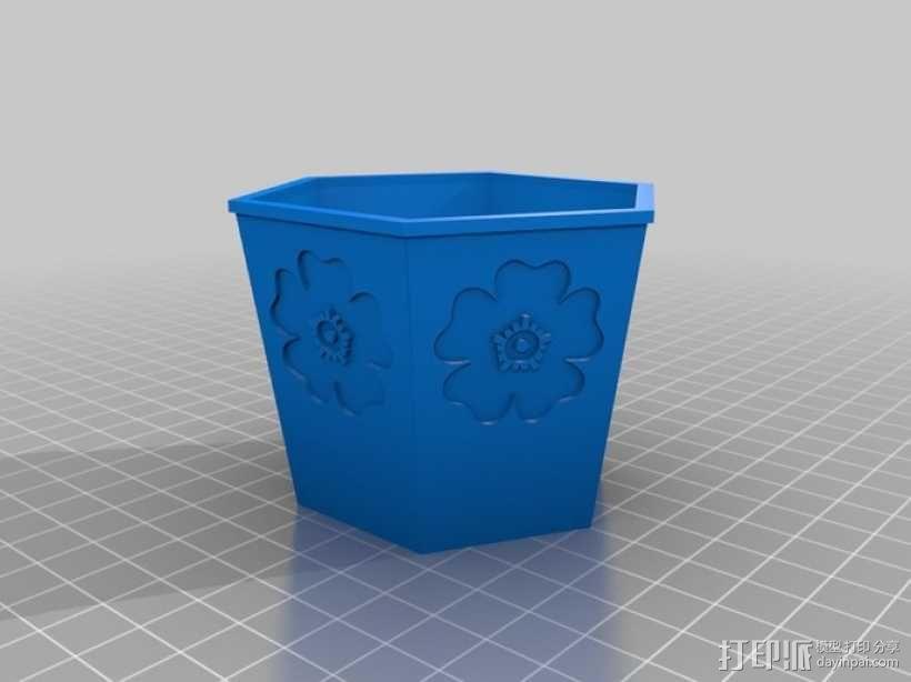 六边形花盆 3D模型  图3