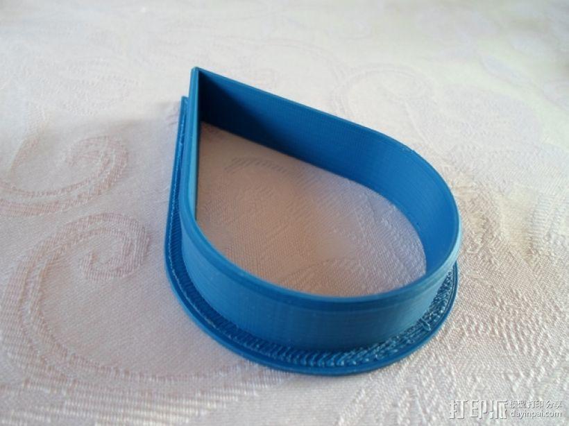 水滴形饼干模具切割刀 3D模型  图3