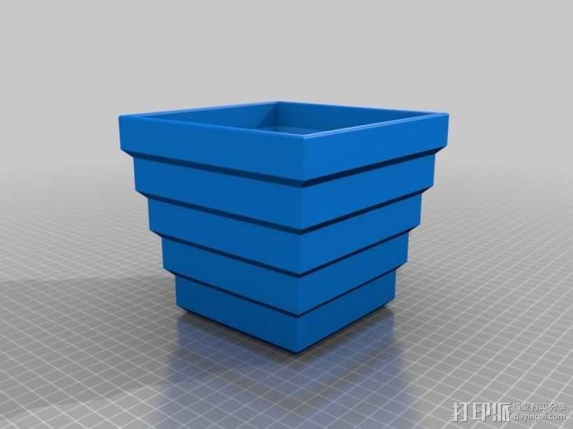 方形花盆 3D模型  图2