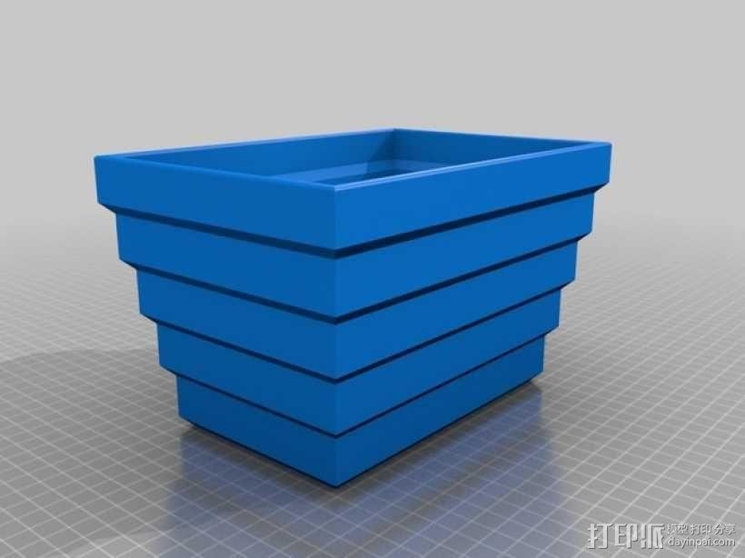 方形花盆 3D模型  图3