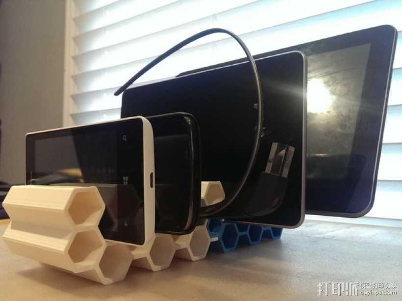 模块化蜂巢形移动设备架 3D模型  图1