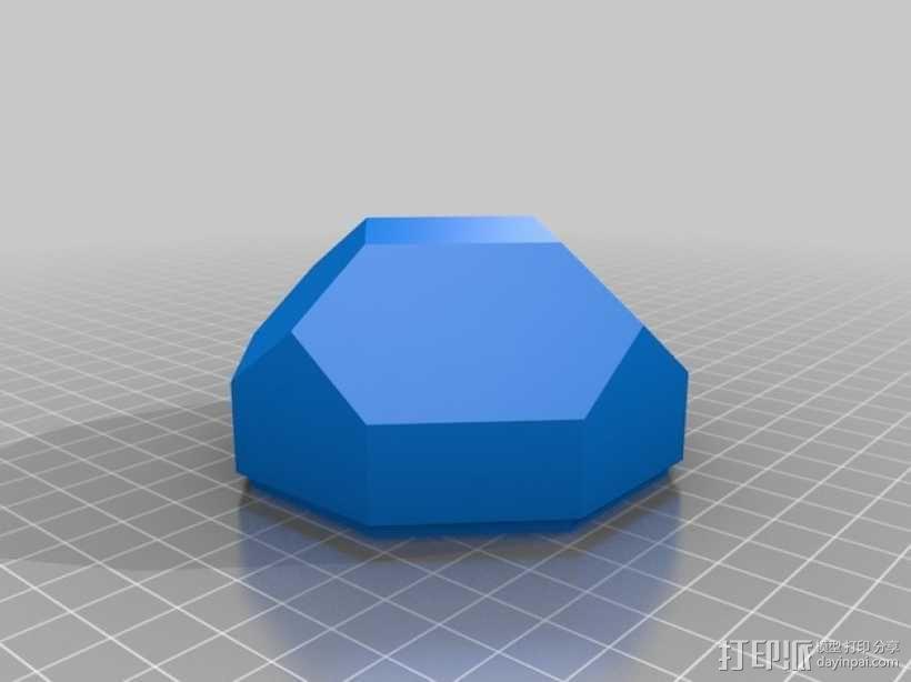 带盖的几何形盒子 3D模型  图3