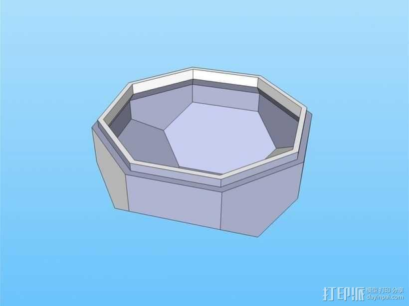 带盖的几何形盒子 3D模型  图4