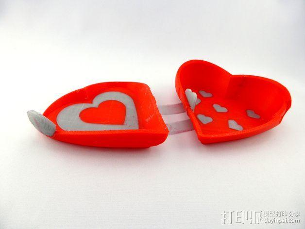 双色心形礼物盒 3D模型  图1