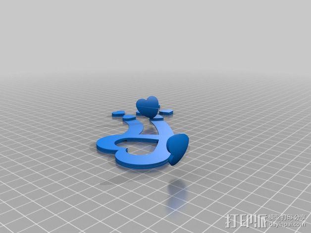 双色心形礼物盒 3D模型  图2