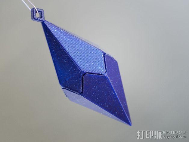 偏六面体吊坠装饰品 3D模型  图1