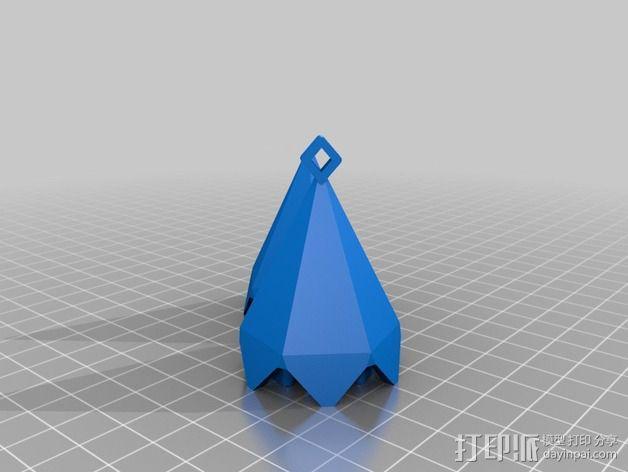 偏六面体吊坠装饰品 3D模型  图2
