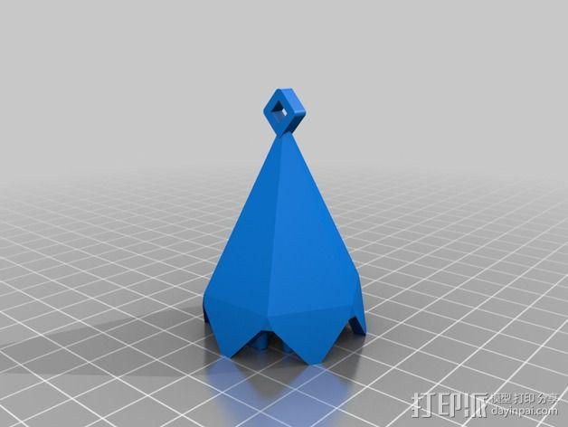 偏六面体吊坠装饰品 3D模型  图4