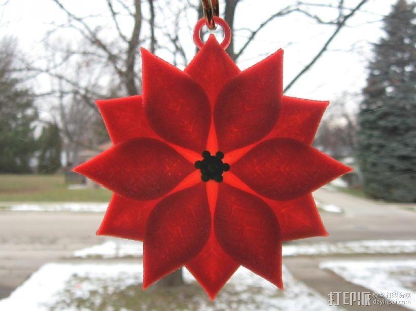 一品红装饰品 3D模型  图3