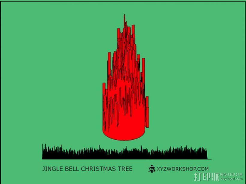 圣诞树形门铃 3D模型  图2
