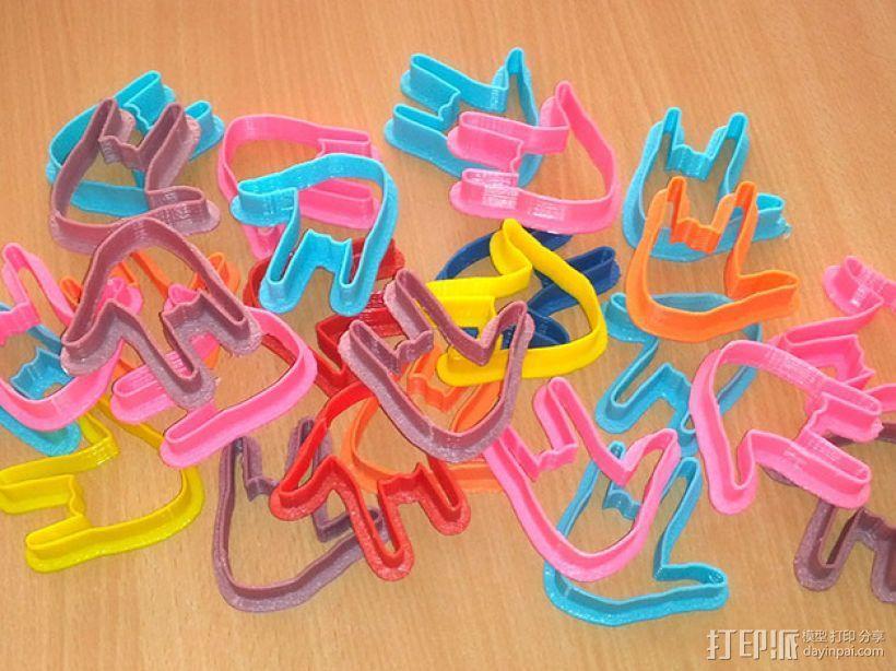 手势形饼干模具切割刀 3D模型  图1