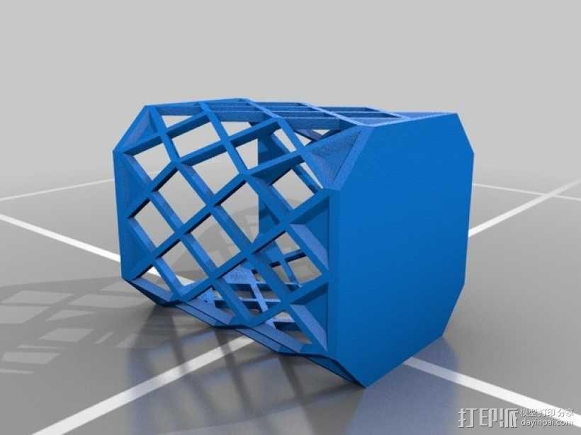 菱形镂空笔筒 3D模型  图2