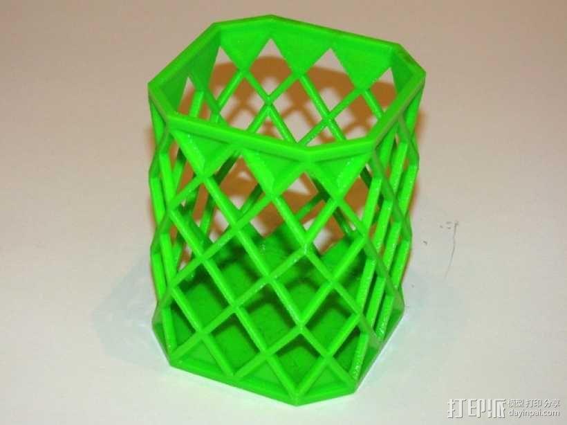 菱形镂空笔筒 3D模型  图3