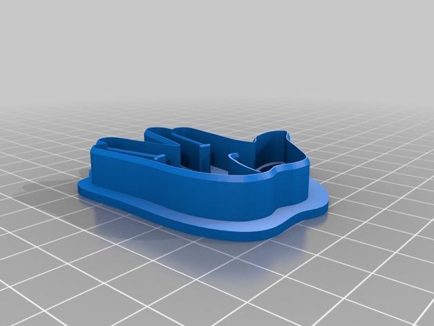 瓦肯举手礼饼干模具切割刀 3D模型  图2