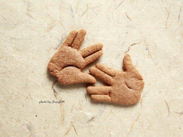 瓦肯举手礼饼干模具切割刀 3D模型  图5