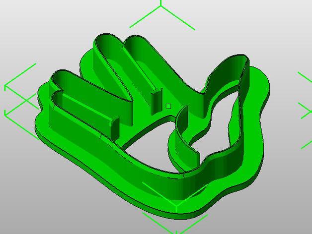 瓦肯举手礼饼干模具切割刀 3D模型  图4