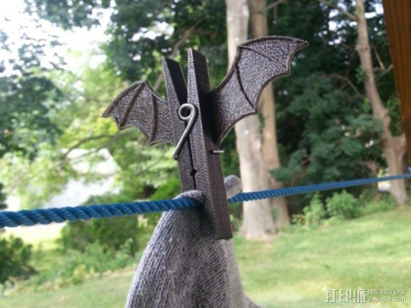 蝙蝠形晒衣夹 3D模型  图1