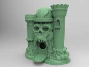 骷髅头城堡形鸟笼 3D模型