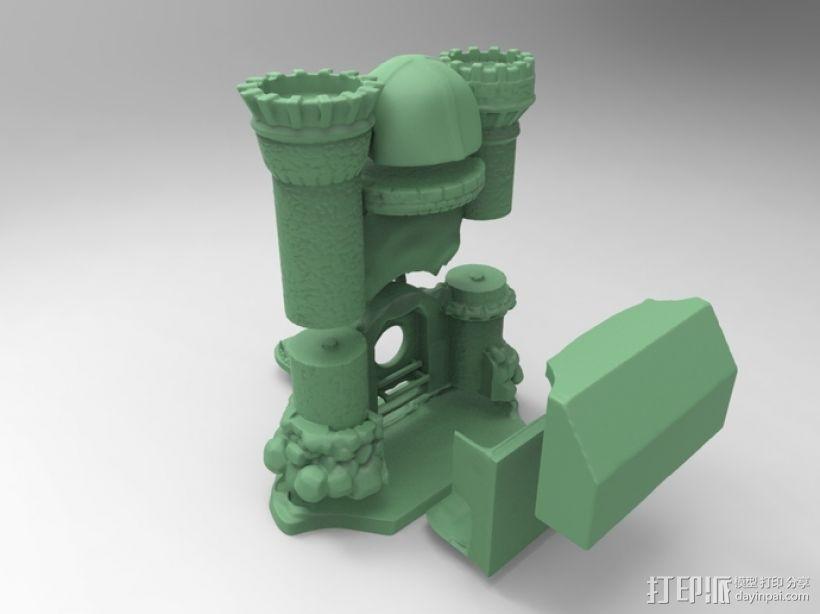 骷髅头城堡形鸟笼 3D模型  图5