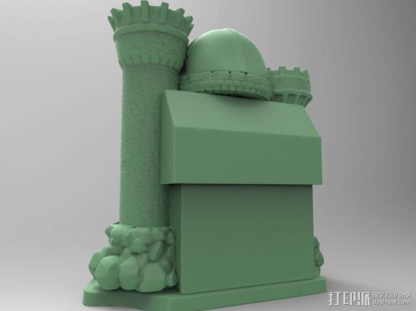 骷髅头城堡形鸟笼 3D模型  图4