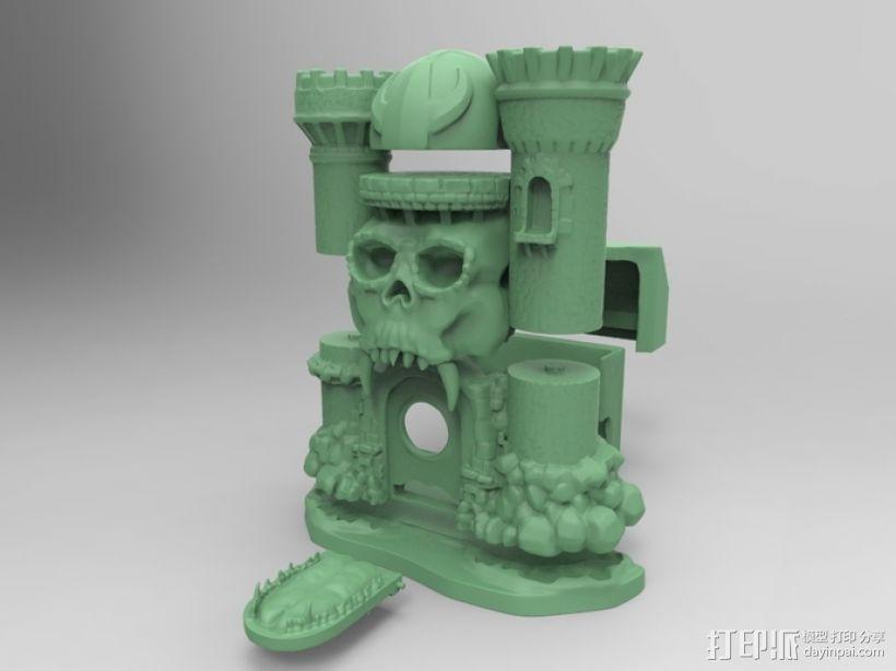 骷髅头城堡形鸟笼 3D模型  图3