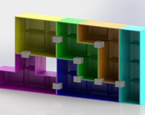 定制模块化俄罗斯方块形架 3D模型  图2