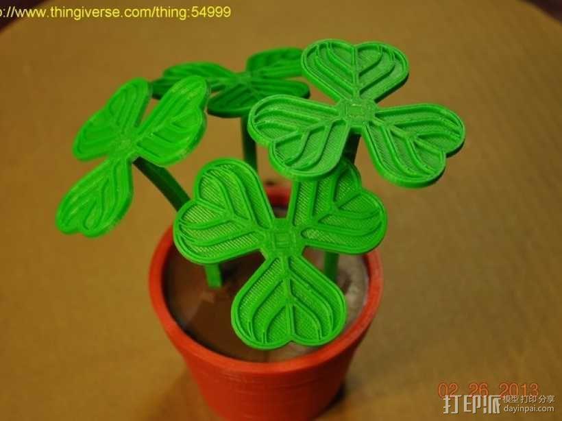 迷你三叶草盆栽 3D模型  图1