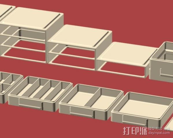 迷你抽屉盒 3D模型  图1