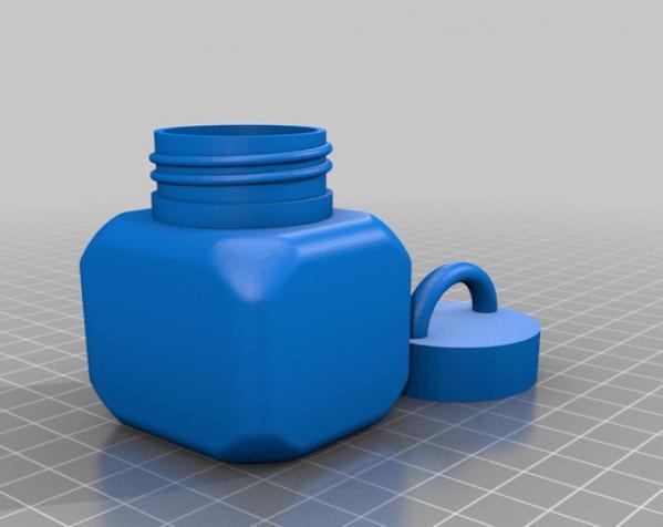 螺纹口方形小瓶 3D模型  图3