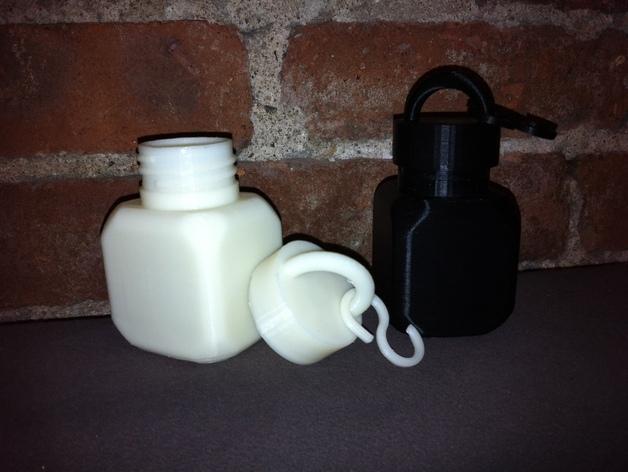 螺纹口方形小瓶 3D模型  图2