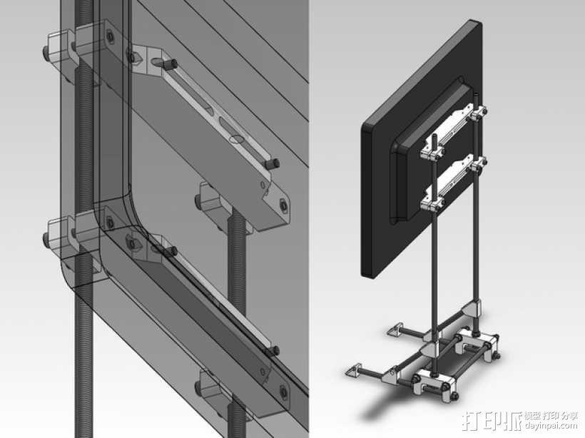 可调整显示器架 3D模型  图1