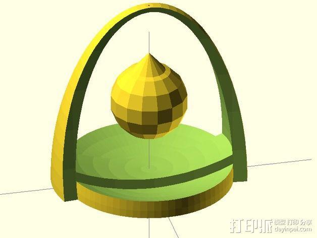 水晶吊坠架 3D模型  图1