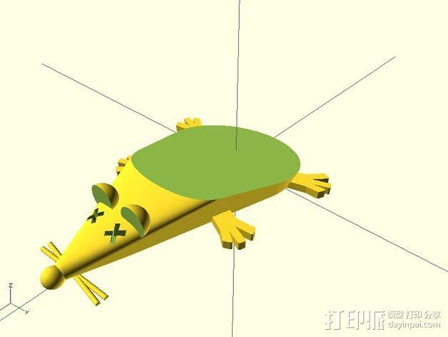 参数化老鼠形门档 3D模型  图1