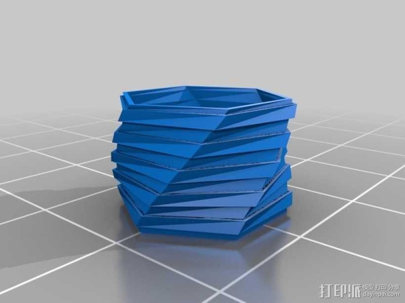 六边螺旋形花盆 3D模型  图2