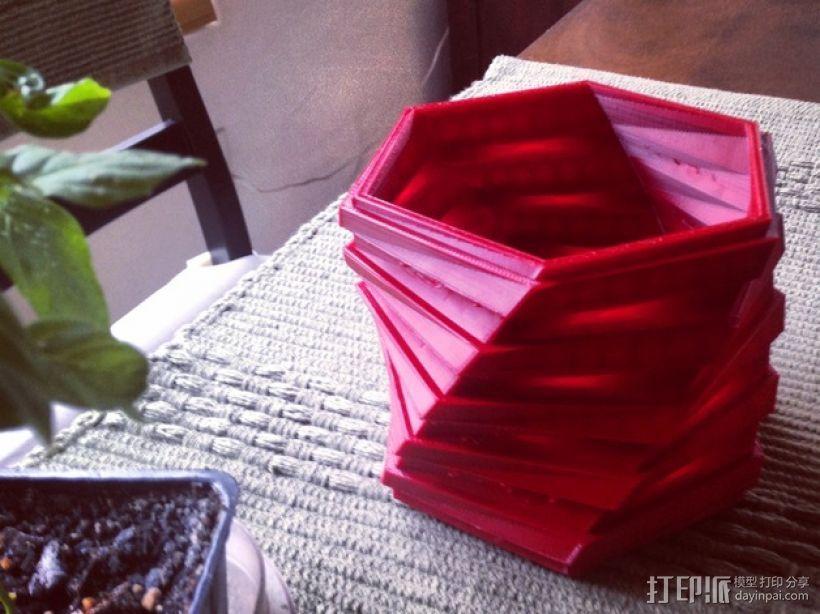 六边螺旋形花盆 3D模型  图1
