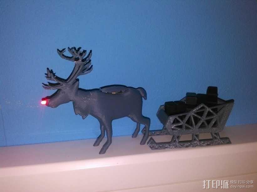 麋鹿雪橇形LED灯 3D模型  图1