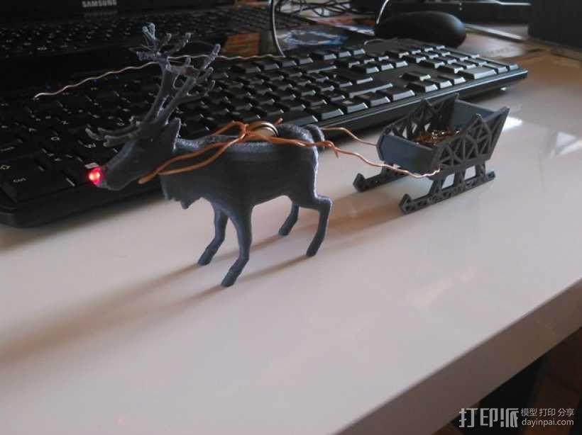 麋鹿雪橇形LED灯 3D模型  图9