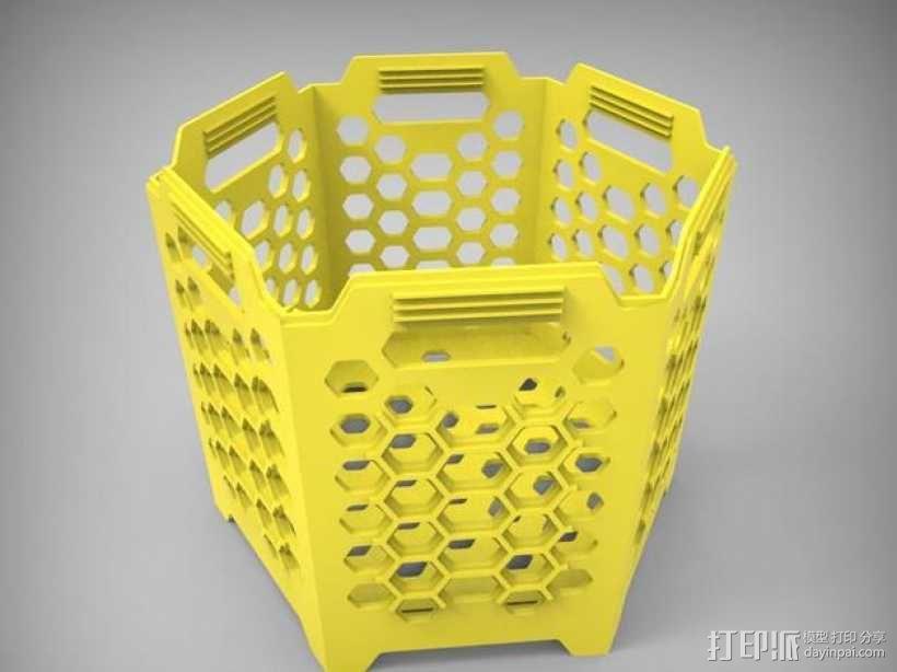 六边形镂空容器 3D模型  图1