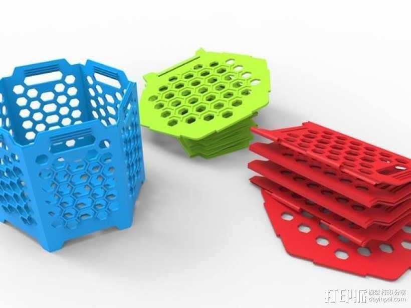 六边形镂空容器 3D模型  图3