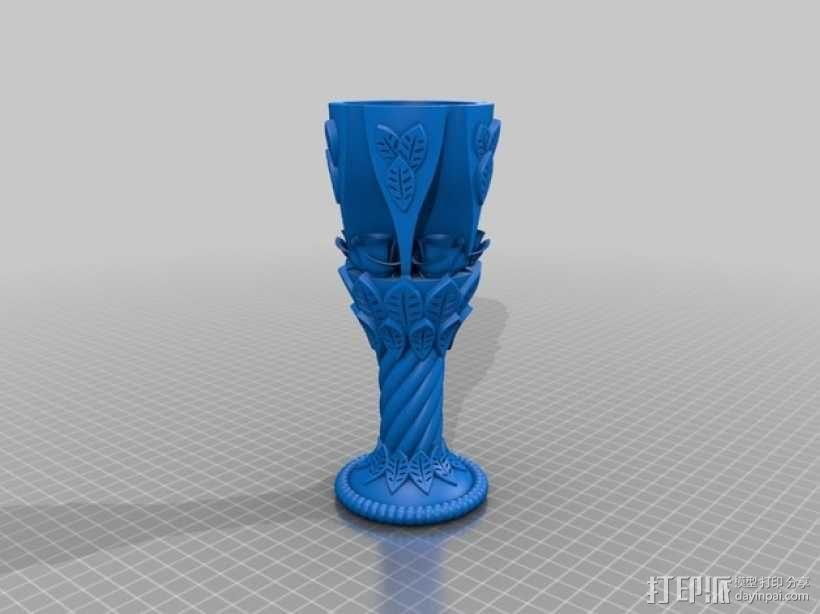 玫瑰酒杯 3D模型  图1